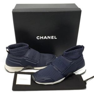 100% Auth CHANEL Blue Sneakers Size 37 Brand New